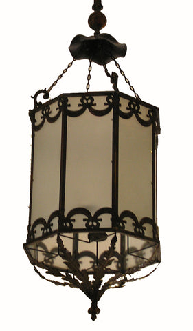 A Pair of Neoclassical syle Gilt Metal and Frosted Glass Octagonal Hall Lanterns