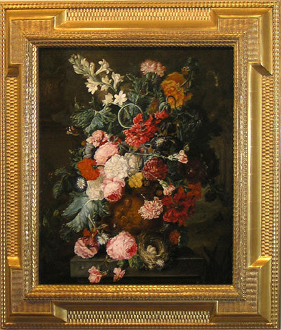 A Still Life of Summer Flowers, Roses, Carnations, Tulips and Peonies in a Terra Cotta  Figural Urn on a Stone Ledge with a Nest of Eggs and with Butterflies