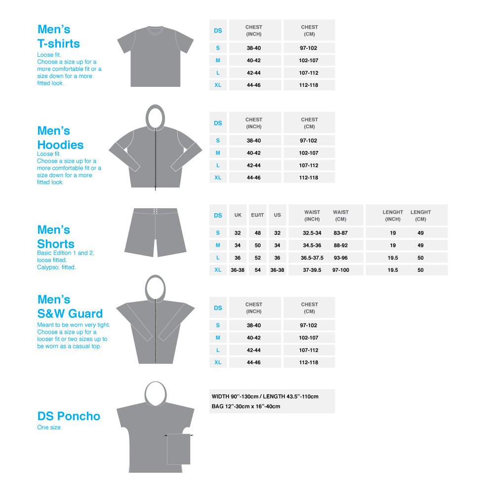 DS Men' Sizing Guide