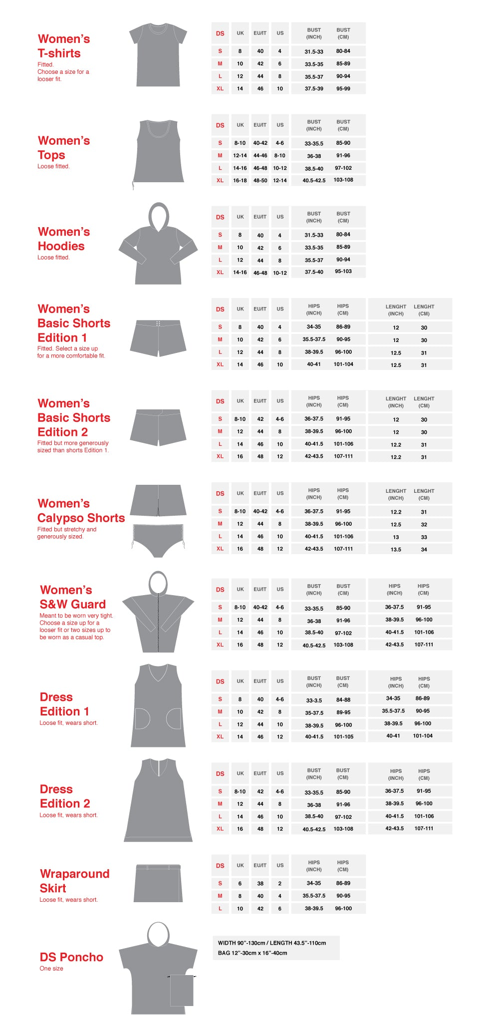 DS Women' Sizing Guide