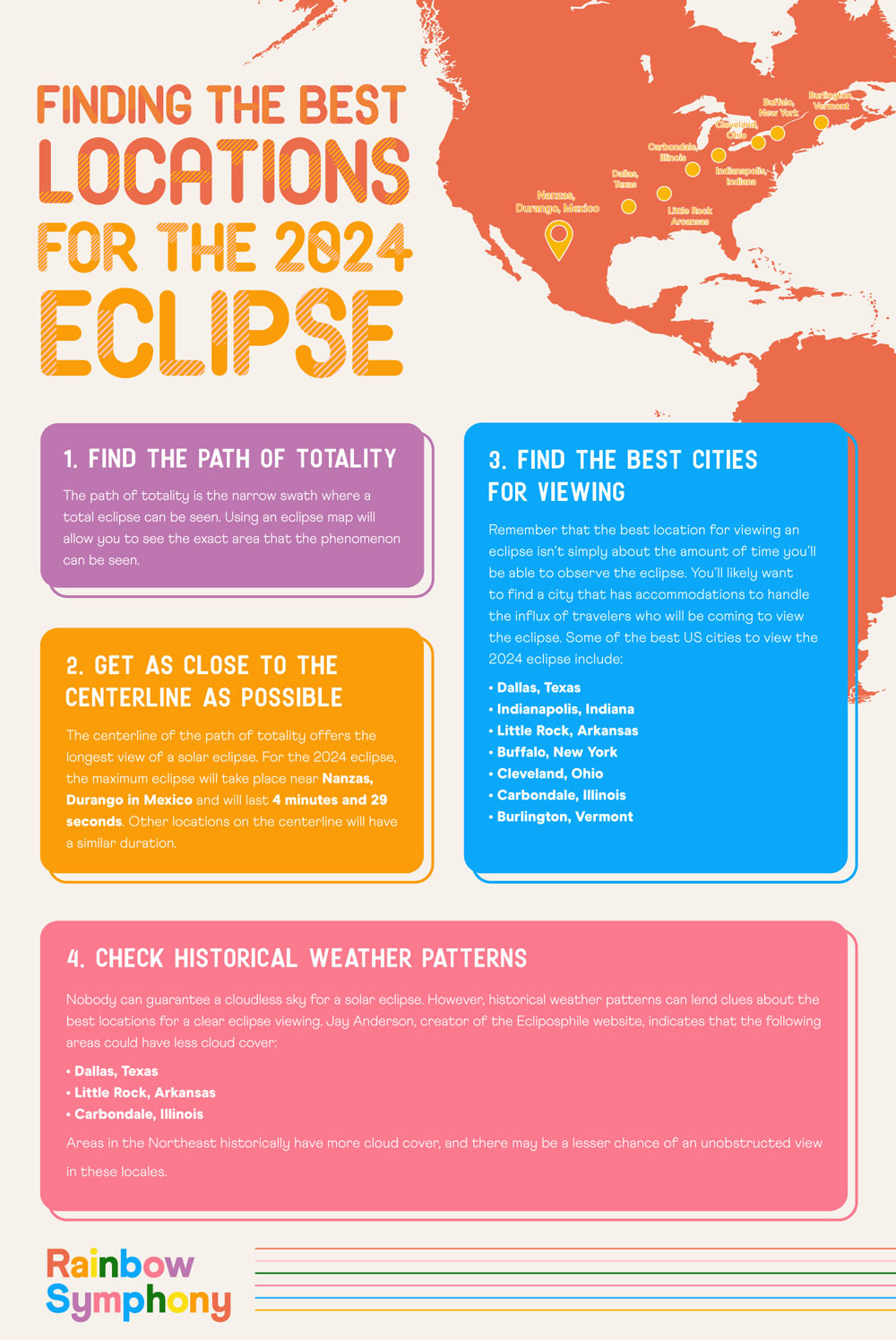 Finding the best locations for solar eclipse visibility