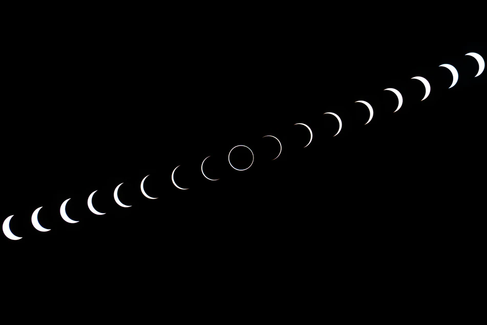 collage of different phases of an eclipse