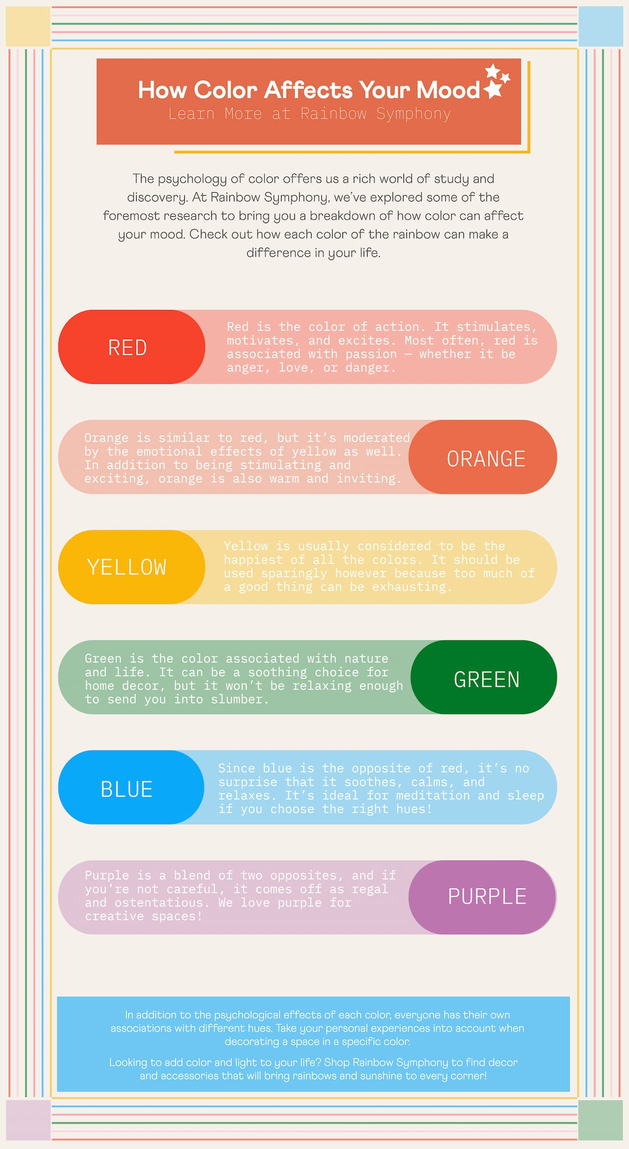 An infographic on how color affects your mood.