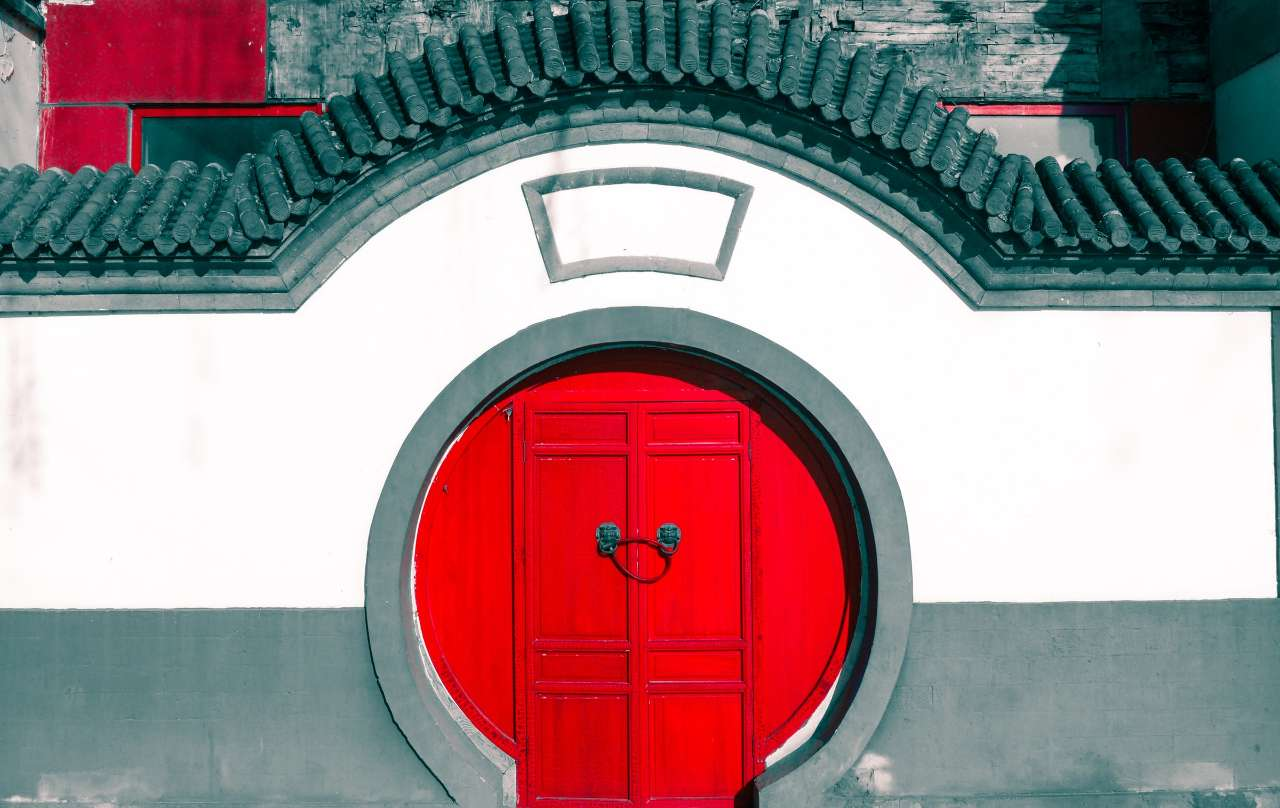 Red Japanese style door