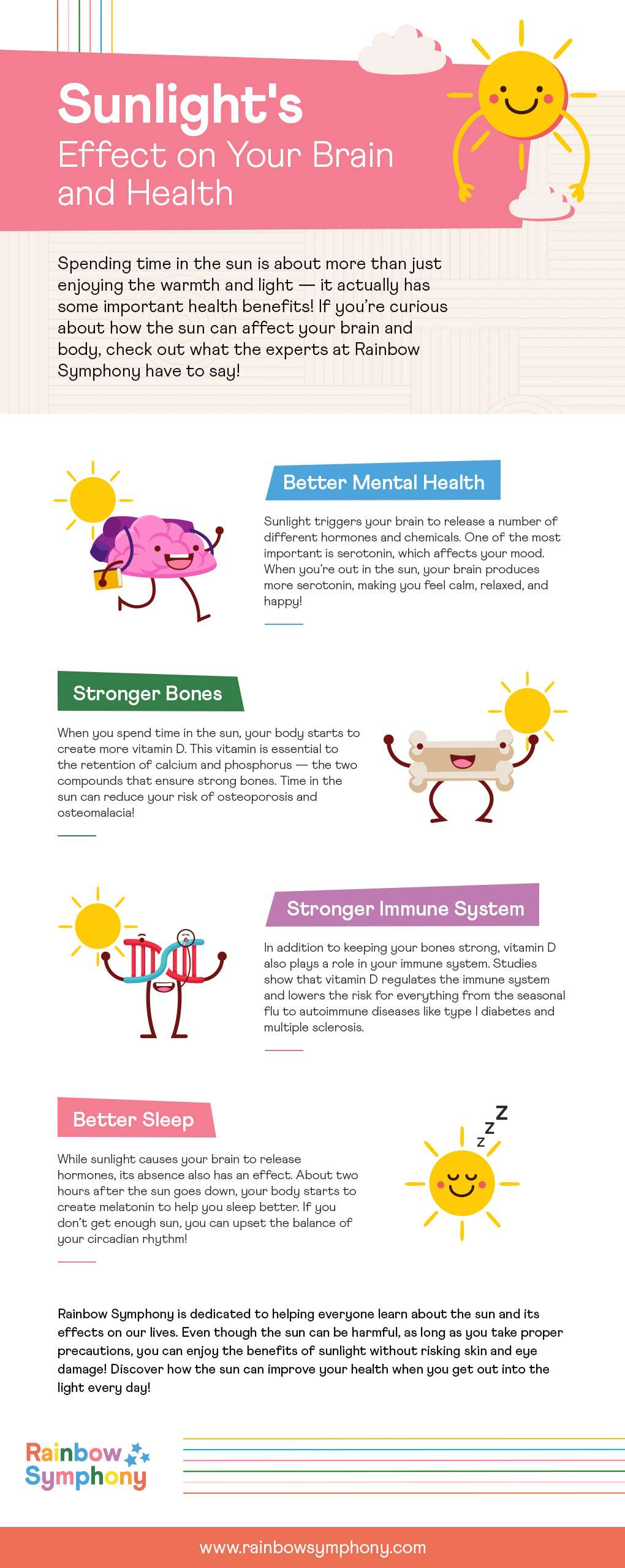 A Rainbow Symphony infographic on sunlight's effect on your brain and health