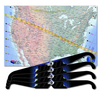 great american eclipse map & glasses