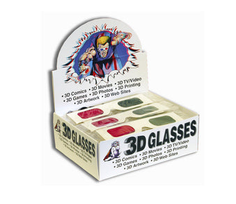 3D glasses retail display - magenta green