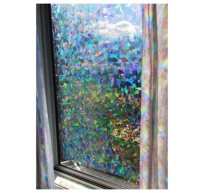 "Decorative Window Film | Holographic Film - 23"" X 36"" Panel - Cracked Ice Pattern"