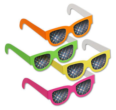 Assorted Neon Wayfarer Style Diffraction Glasses