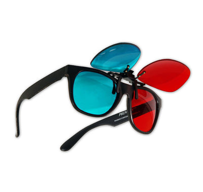 Plastic 3D Glasses with Clip On - red/cyan