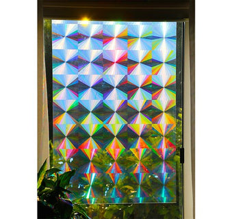 "Holographic Rainbow Window Film - Radial Axicon Pattern - 24""x36"" Sheet"