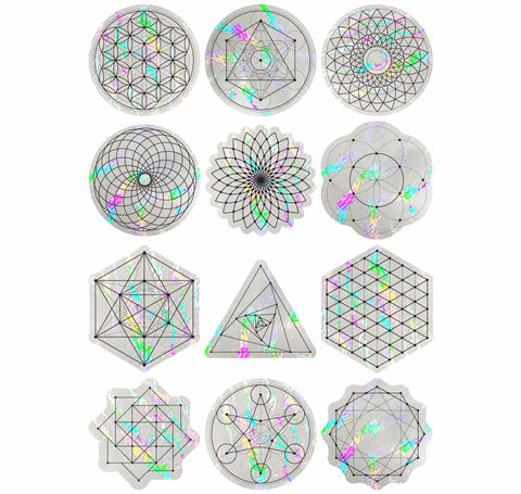 Sacred Geometry Suncatcher Set | Rainbow Decals