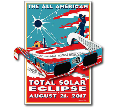 All American Eclipse Glasses + Commemorative Poster - 5 Pack