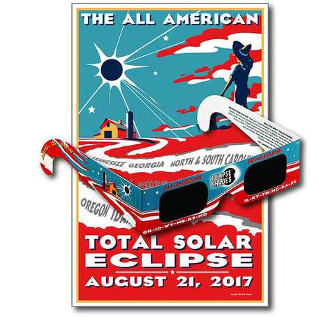 Eclipse Glasses - Safe Solar Glasses - Eclipse Shades® - Safe for Direct Solar Viewing of Total Solar Eclipse 2017. Includes Collectible Commemorative Poster with each Order.