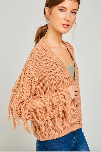 Button-Down Fringe Knit Sweater
