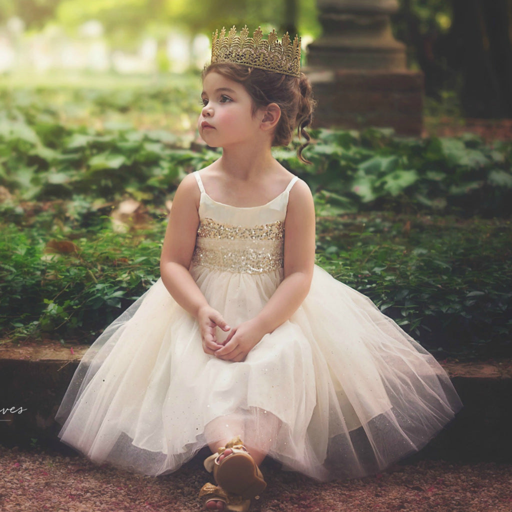 ivory fancy dresses for girls