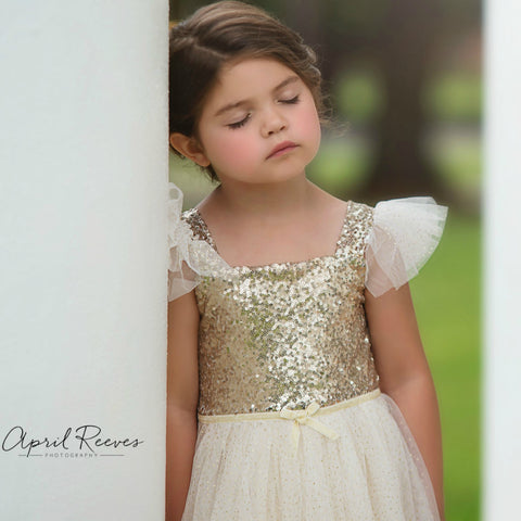 gold and ivory flower girl dress