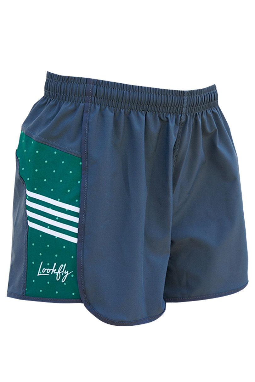 Green Dots Shorty Shorts