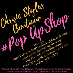 Chrisie styles pop up shop flyer