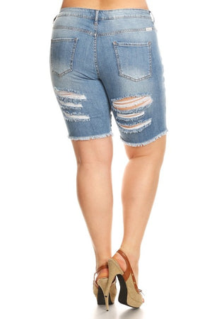 Light Blue Pluz Size Distress Shorts
