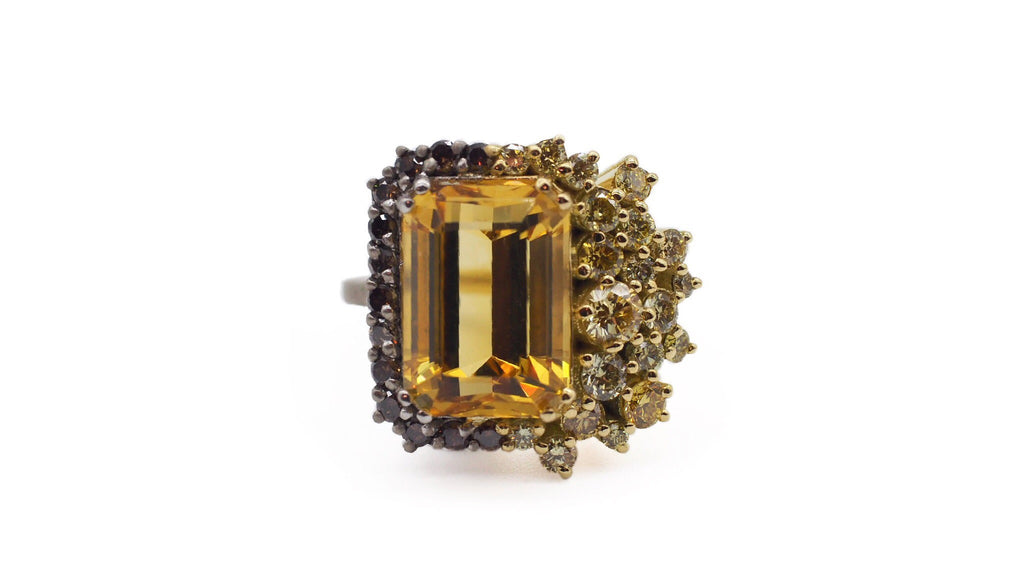 Custom Citrine Hybrid Ring with Diamonds