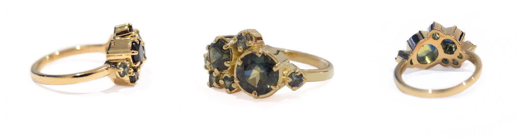 Australian Blue Green Parti Sapphires, 18ct Yellow Gold