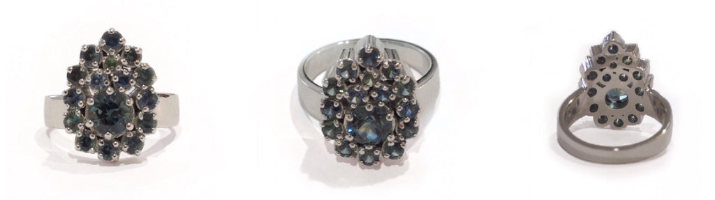 Australian Blue Green Sapphires in 18ct White gold in a Pear Shaped Dress ring
