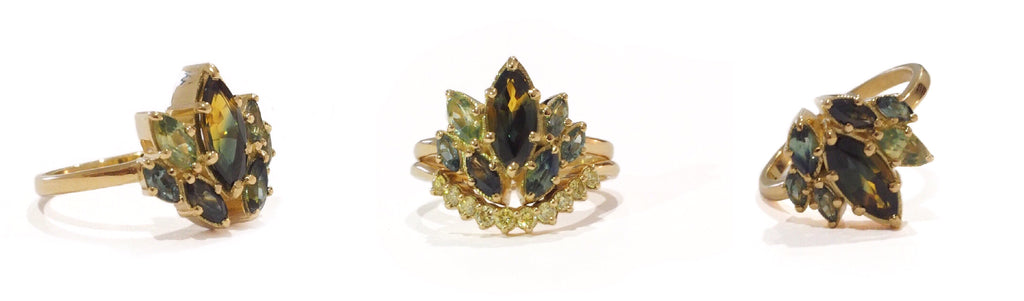 Marquise Australian Sapphire Gold Ring
