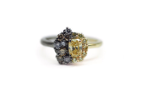 Yellow Diamond Gold Unique Engagement Ring wit