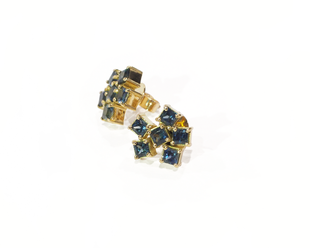 Blue Australian Sapphire Stud Earrings