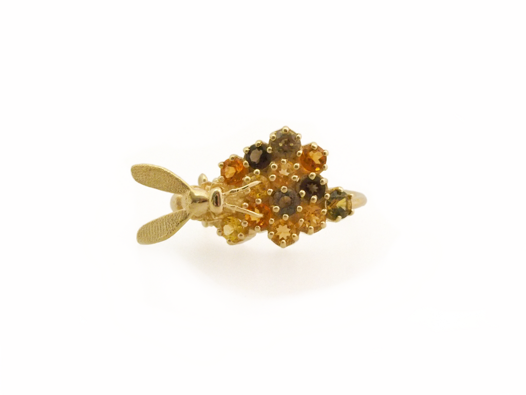 Wasp Messing with Bee's Business in Yellow Gold