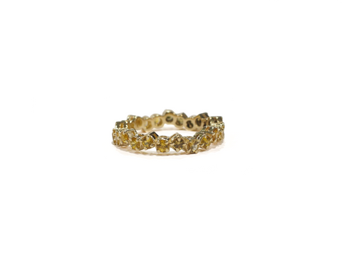 Yellow Gold and Yellow Sapphire Cluster Eternity Ring