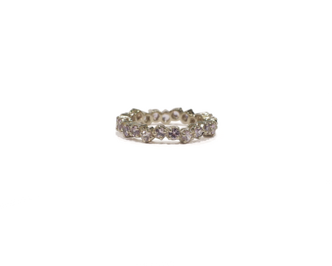 White Gold and Purple Sapphire Cluster Eternity Ring