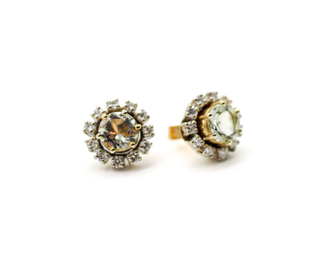 Mint Quartz in Yellow Gold Stud Earrings with White Diamond Halo in White Gold