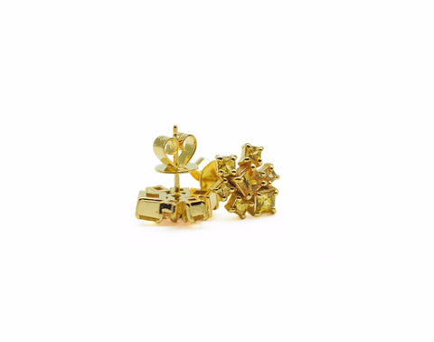 Princess Cut Yellow Sapphire Cluster Earrings