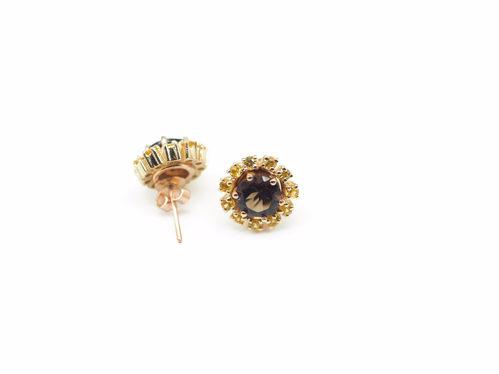 Smokey Quartz Studs with Yellow Sapphire Halo's in Yellow Gold.