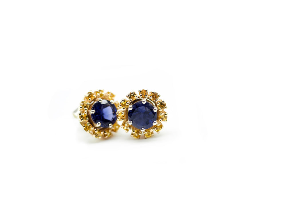 Iolite Studs with Yellow Sapphire Halo's in Yellow Gold.