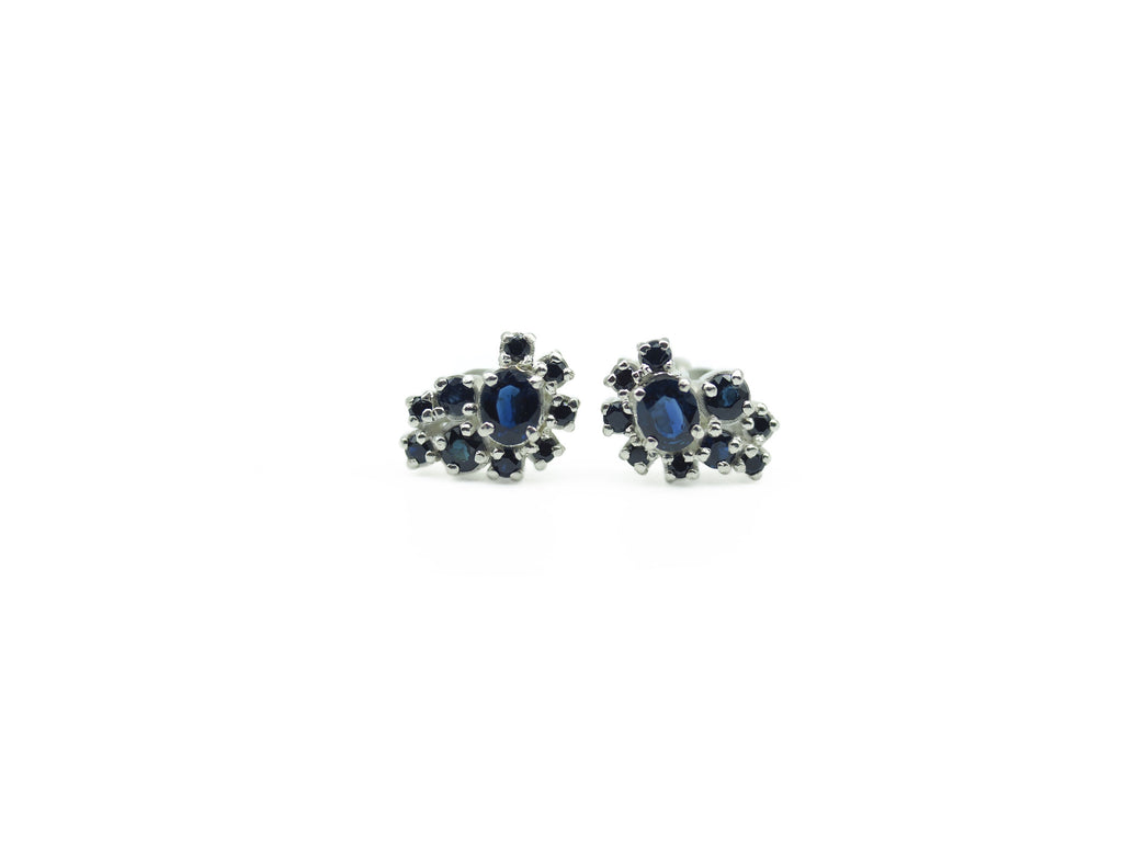 Australian Sapphire A-symmetrical Stud Earrings