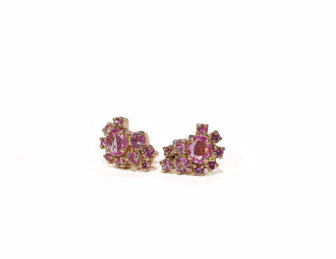 Pink Sapphire A-symmetrical Stud Earrings