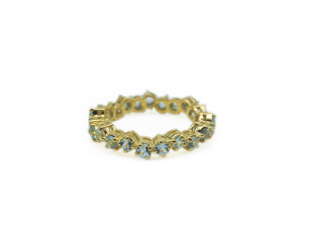 Yellow Gold and Aquamarine Cluster Eternity Ring