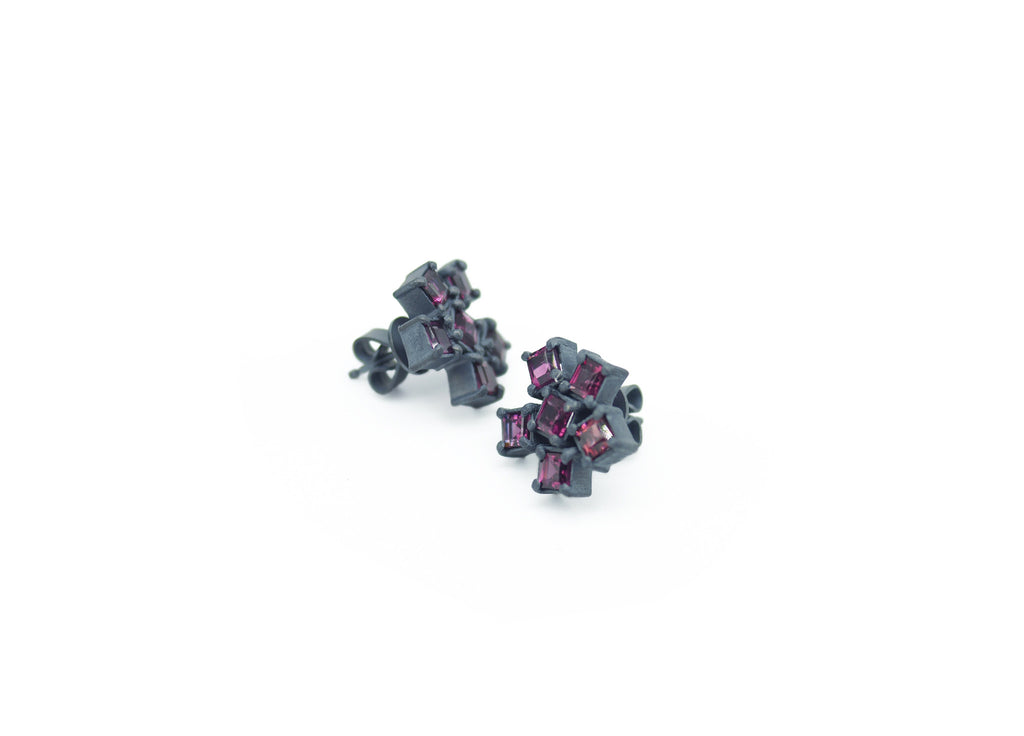 Square Cut Rhodolite Garnet Cluster Earrings