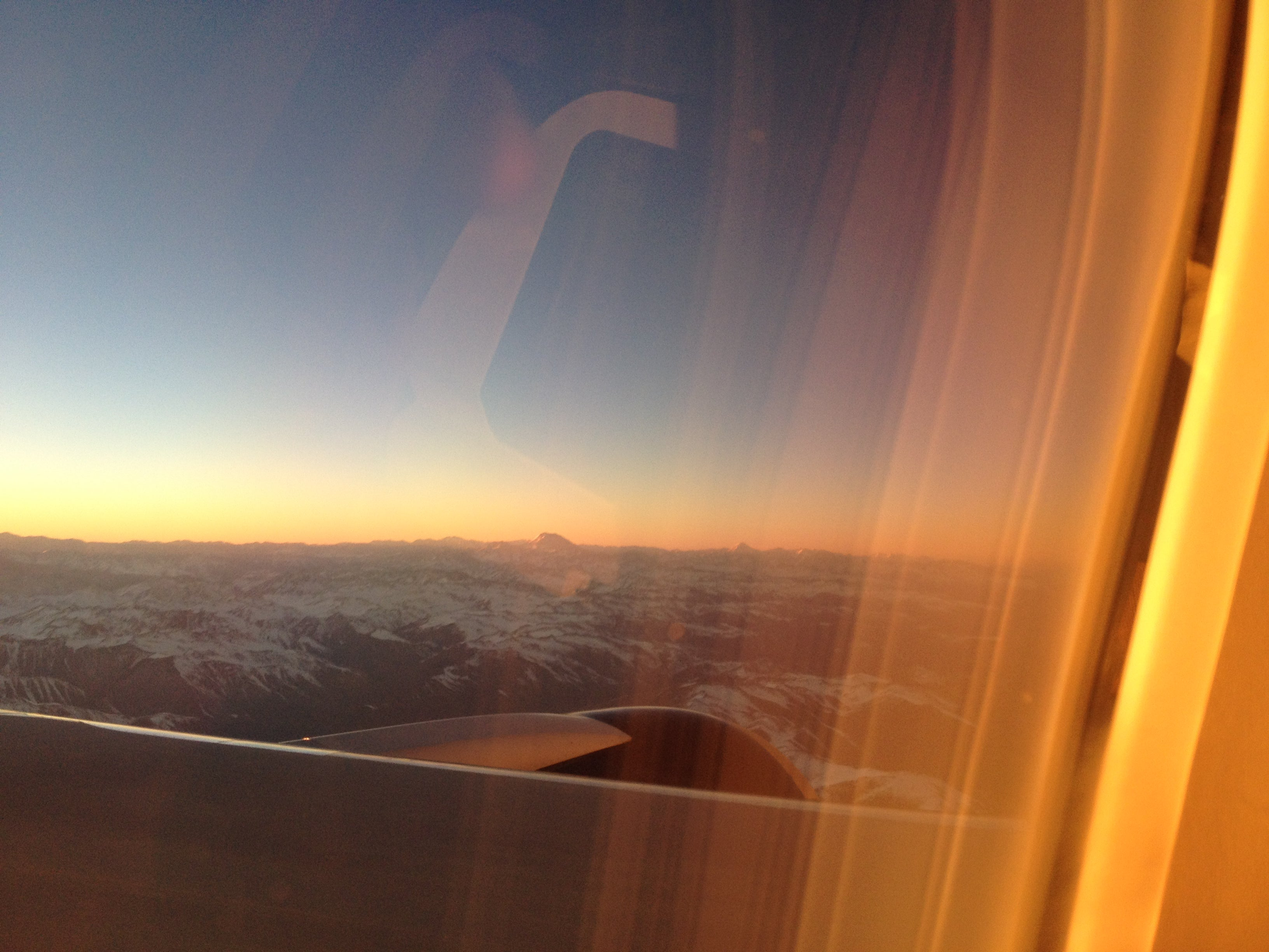 Sunrise coming into Santiago