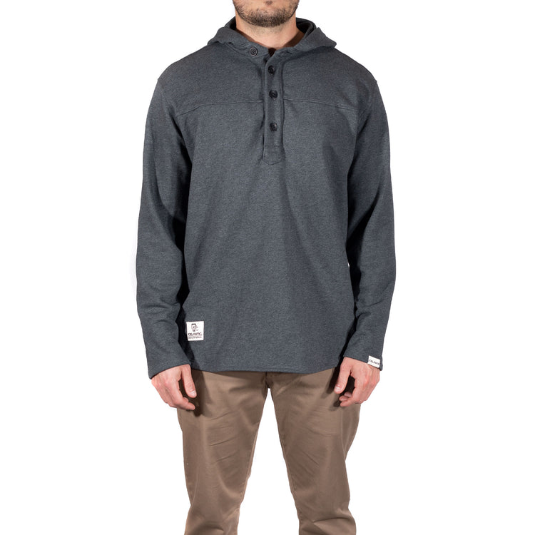 French Terry Hooded Henley - Charcoal