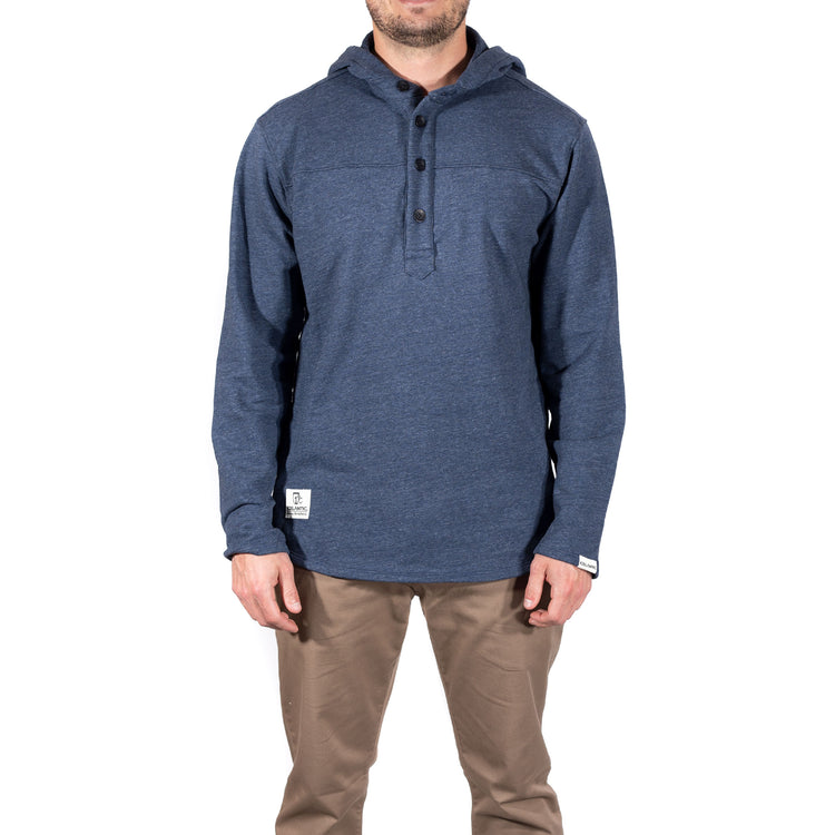 French Terry Hooded Henley - Heather Lake