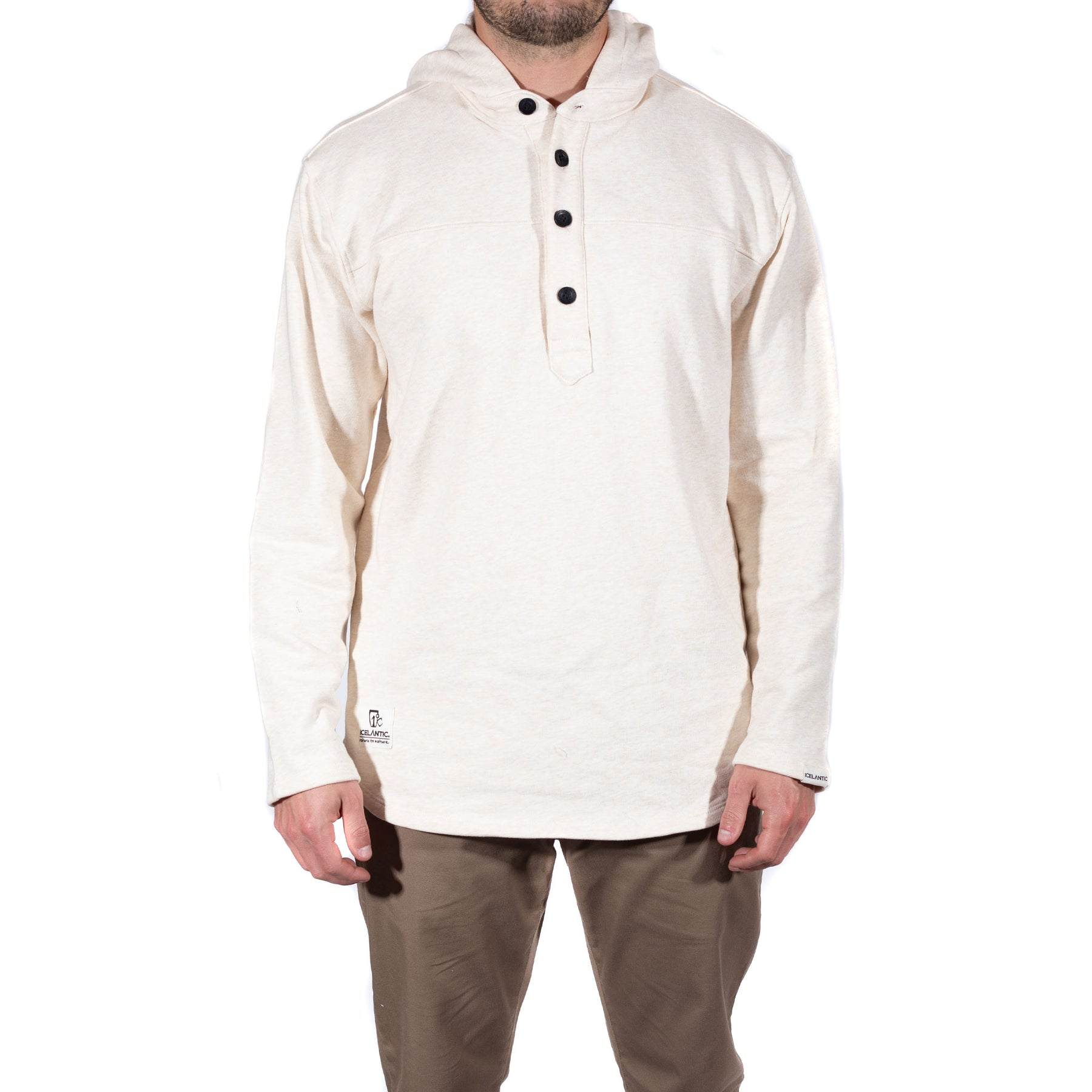 French Terry Hooded Henley - Heather Almond