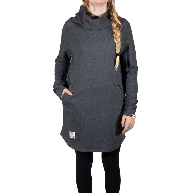 French Terry Pocket Dress - Charcoal