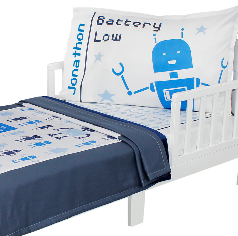 Customizable Bedtime Bots   Toddler Bedding Set ...
