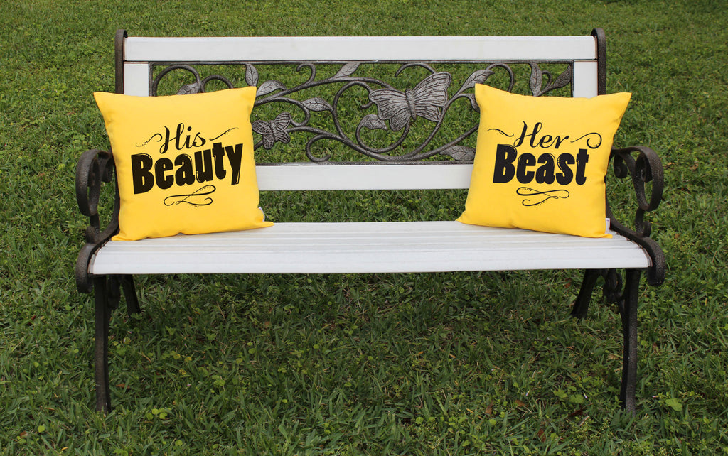 Couples Throw Pillows His Hers Beauty Beast Decorative