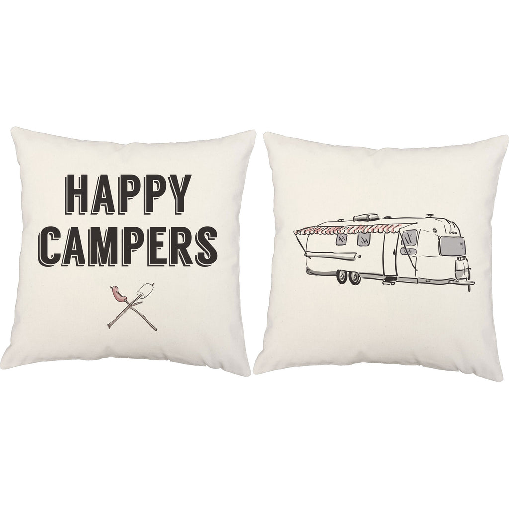 Happy Campers Pillows Cute Camping Decorative Throw