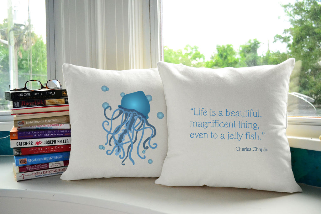 Jellyfish Throw Pillows Nautical Sea Creature Quote Accent Pillows Roomcraft
